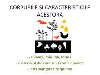 CORPURILE I CARACTERISTICILE ACESTORA