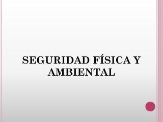 SEGURIDAD FÍSICA Y AMBIENTAL