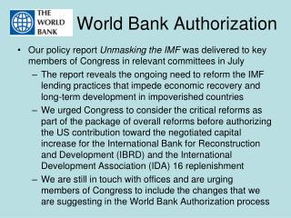 World Bank Authorization