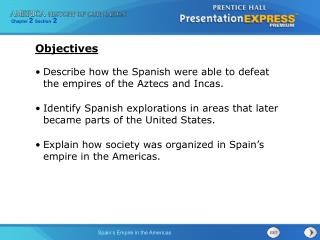 Describe how the Spanish were able to defeat the empires of the Aztecs and Incas.