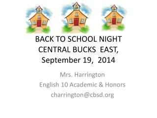 BACK TO SCHOOL NIGHT CENTRAL BUCKS   EAST, September 19,  2014