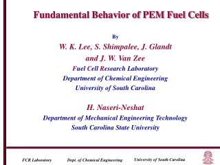 By W. K. Lee, S. Shimpalee, J. Glandt  and J. W. Van Zee Fuel Cell Research Laboratory Department of Chemical Engineerin