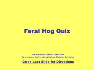 Feral Hog Quiz