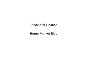 Behavioral Finance and Equity Investing