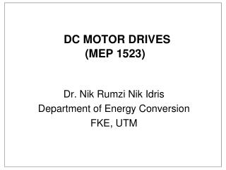 DC MOTOR DRIVES (MEP 1523)