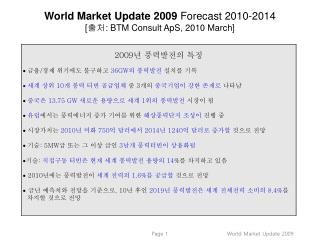 World Market Update  2009  Forecast 2010-2014 [ 출처 :  BTM Consult  ApS , 2010 March]