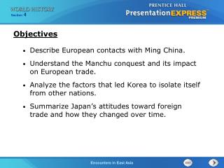 Describe European contacts with Ming China.