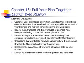 Chapter 15: Pull Your Plan Together -  Launch With Passion