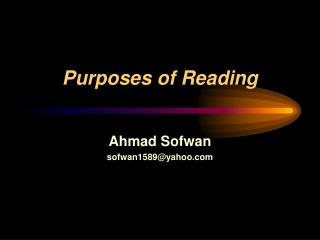 Purposes of Reading