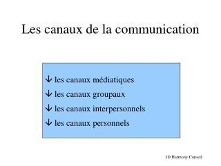 Les canaux de la communication
