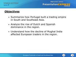 Summarize how Portugal built a trading empire in South and Southeast Asia.