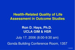 Health-Related Quality of Life Assessment in Outcome Studies