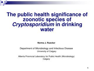 The public health significance of zoonotic species of  Cryptosporidium  in drinking water