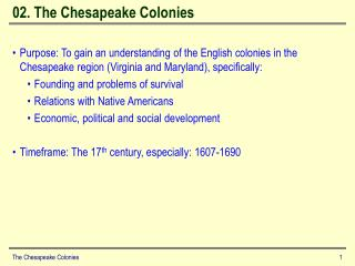 02. The Chesapeake Colonies