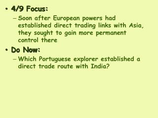 4 /9  Focus: