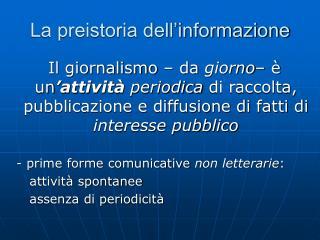 La preistoria dell'informazione