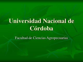Universidad Nacional de Córdoba