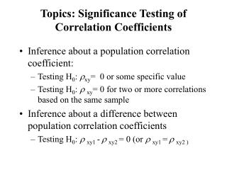 Topics: Significance Testing of Correlation Coefficients