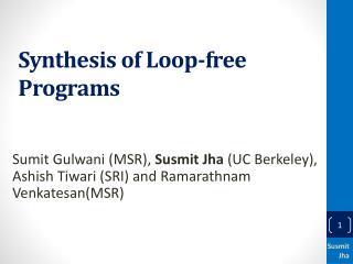 Synthesis of Loop-free Programs