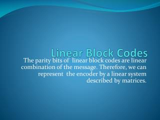 Linear Block Codes