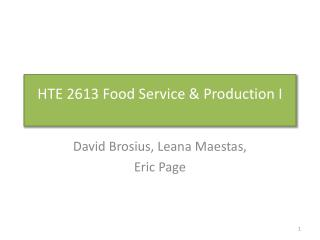 HTE 2613 Food Service & Production I