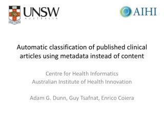 Automatic classification of published clinical articles using metadata instead of content