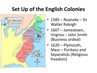 Set Up of the English Colonies