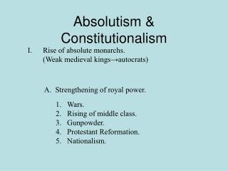 Absolutism & Constitutionalism