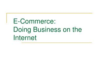 E-Commerce: