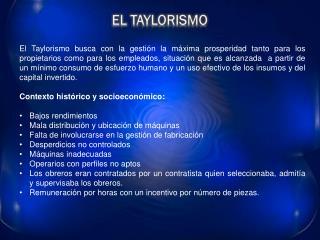 EL TAYLORISMO