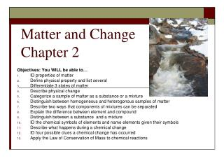 Matter and Change Chapter 2