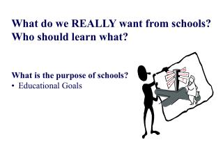 What do we REALLY want from schools? Who should learn what? What is the purpose of schools?