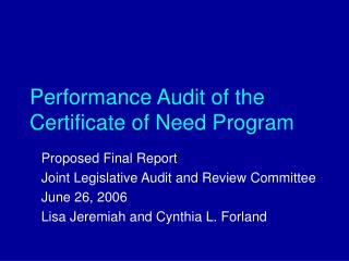 Performance Audit of the Certificate of Need Program