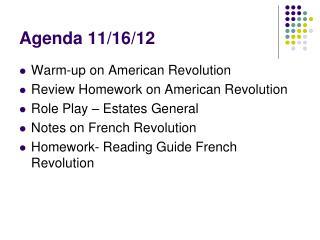 Agenda 11/16/12