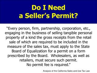 Do I Need  a Seller's Permit?