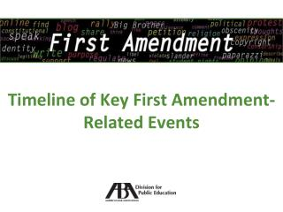Timeline of Key First Amendment-Related Events