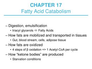 CHAPTER 17  Fatty Acid Catabolism
