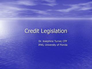 Credit Legislation