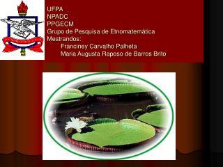 UFPA NPADC PPGECM Grupo de Pesquisa de Etnomatem tica Mestrandos:         Franciney Carvalho Palheta         Maria Augus