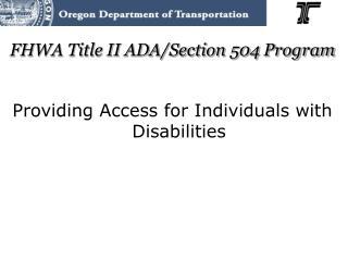 FHWA Title II ADA