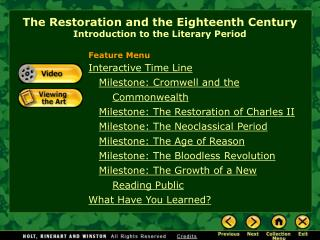 The Restoration and the Eighteenth Century  Introduction to the Literary Period