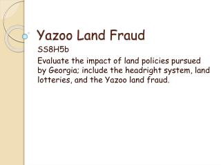 Yazoo Land Fraud