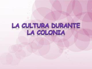 La  cultura durante  la  colonia