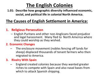 The Causes of English Settlement in America: Religious Persecution