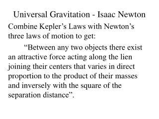 Universal Gravitation - Isaac Newton
