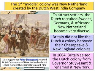 "The 1 st  ""middle"" colony was New Netherland created by the Dutch West India Company"