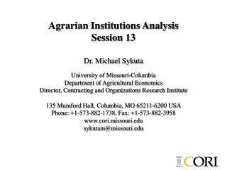 Agrarian Institutions Analysis Session 13