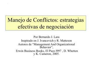 Manejo de Conflictos: estrategias efectivas de negociaci�n