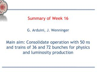 Summary of Week 16 G. Arduini, J. Wenninger