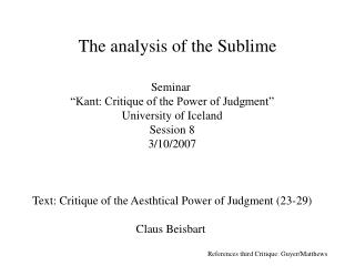 The analysis of the Sublime